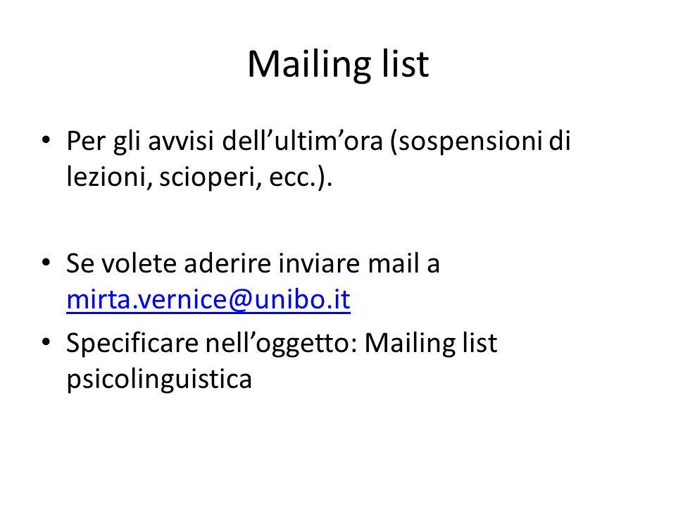Mailing list Per gli avvisi dell'ultim'ora (sospensioni di lezioni, scioperi, ecc.). Se volete aderire inviare mail a mirta.vernice@unibo.it.