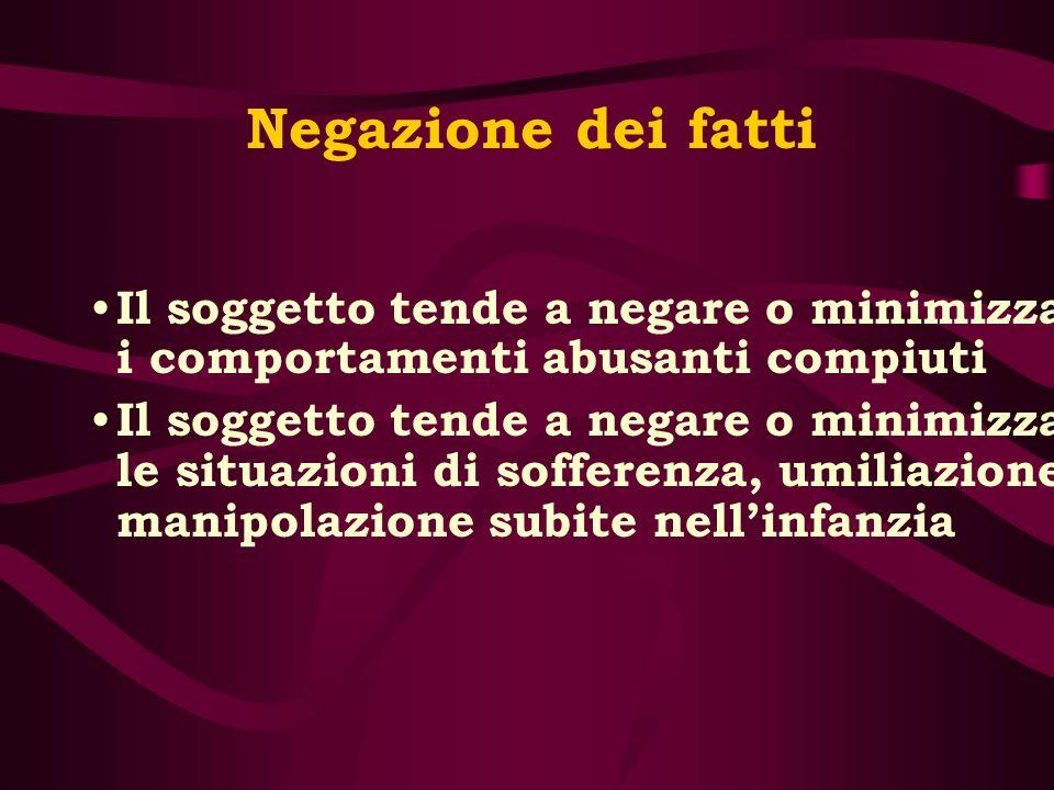 Negazione dei fatti Il soggetto tende a negare o minimizzare i comportamenti abusanti compiuti.