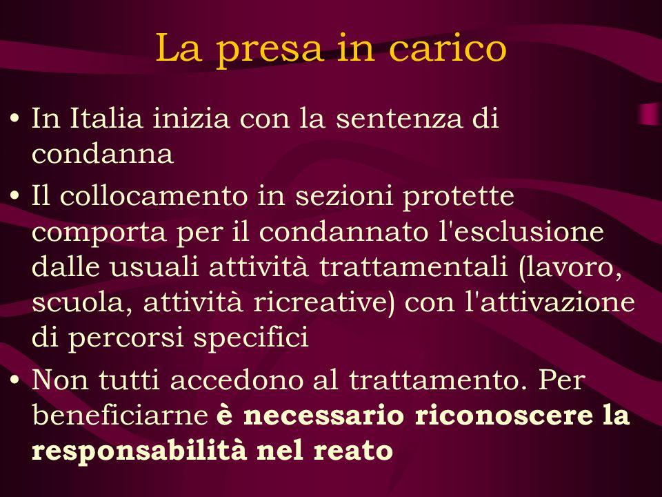 La presa in carico In Italia inizia con la sentenza di condanna