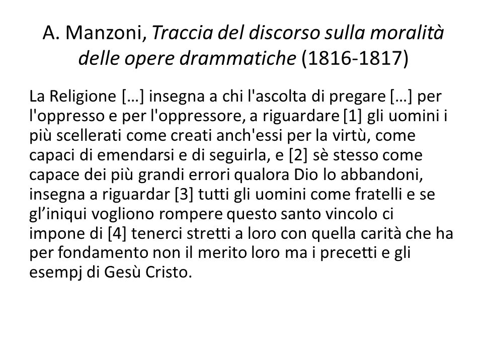 A. Manzoni, Traccia del discorso sulla moralità delle opere drammatiche (1816-1817)
