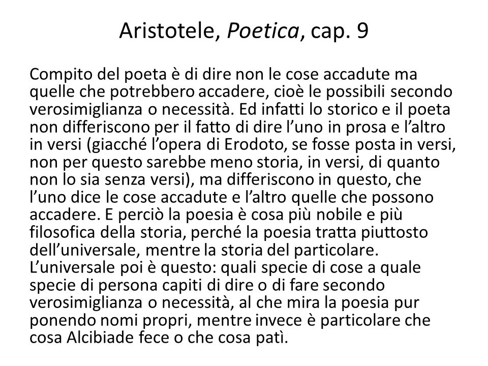 Aristotele, Poetica, cap. 9