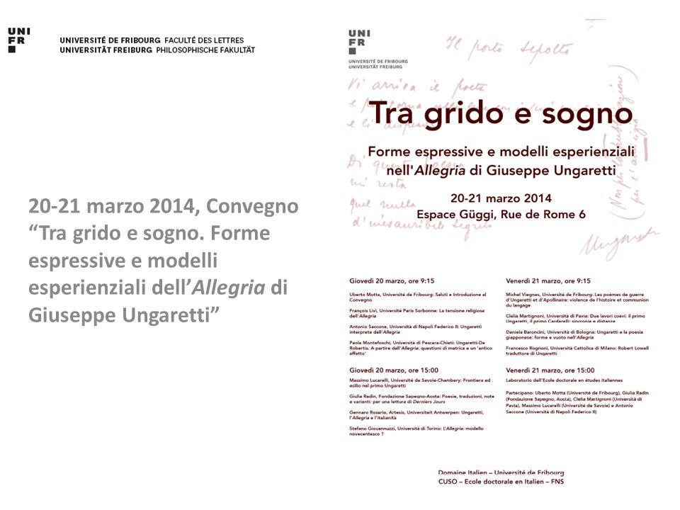 20-21 marzo 2014, Convegno Tra grido e sogno.