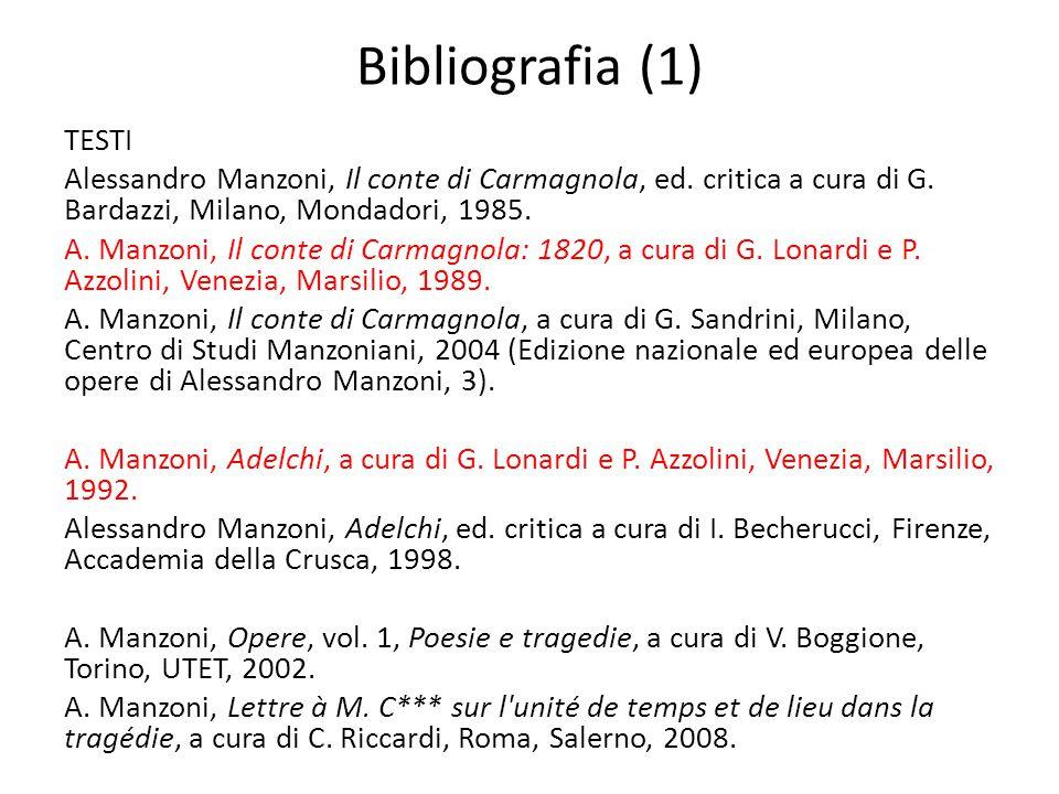 Bibliografia (1) TESTI. Alessandro Manzoni, Il conte di Carmagnola, ed. critica a cura di G. Bardazzi, Milano, Mondadori, 1985.