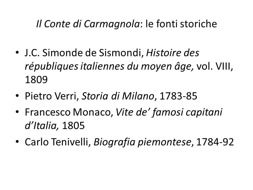 Il Conte di Carmagnola: le fonti storiche