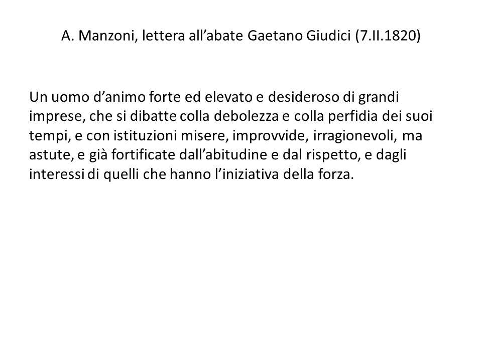 A. Manzoni, lettera all'abate Gaetano Giudici (7.II.1820)
