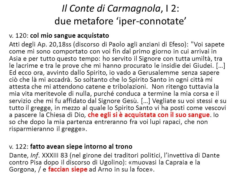 Il Conte di Carmagnola, I 2: due metafore 'iper-connotate'