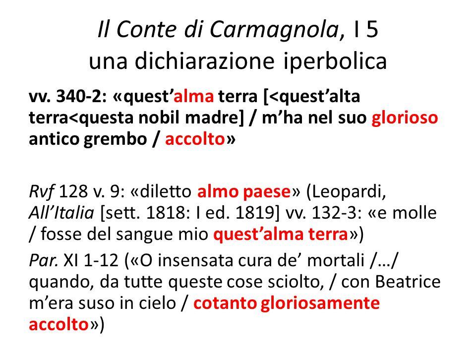 Il Conte di Carmagnola, I 5 una dichiarazione iperbolica