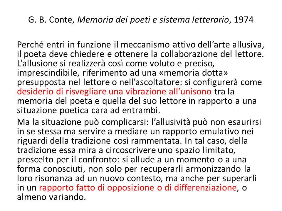 G. B. Conte, Memoria dei poeti e sistema letterario, 1974