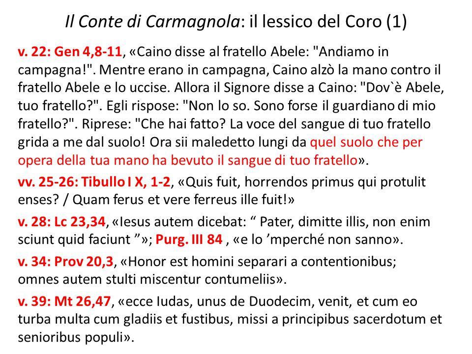 Il Conte di Carmagnola: il lessico del Coro (1)