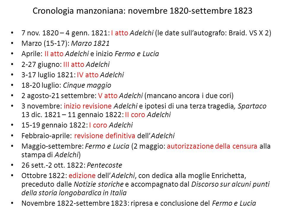 Cronologia manzoniana: novembre 1820-settembre 1823