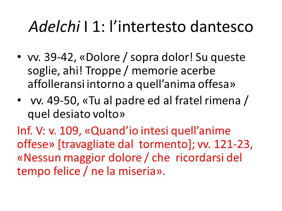 Adelchi I 1: l'intertesto dantesco