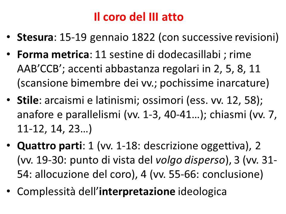 Il coro del III atto Stesura: 15-19 gennaio 1822 (con successive revisioni)