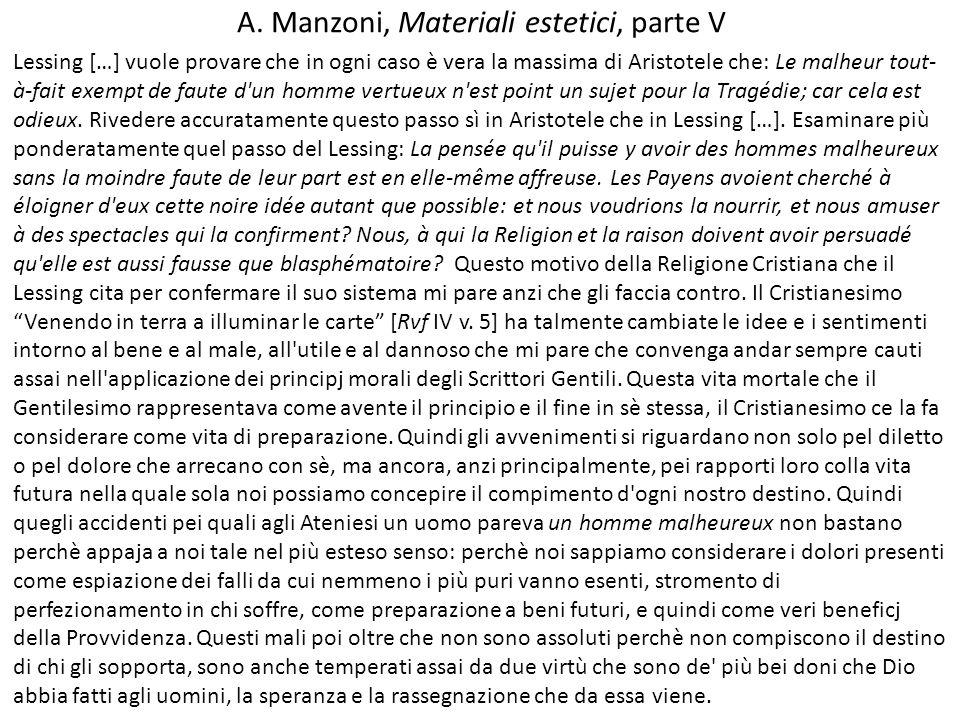 A. Manzoni, Materiali estetici, parte V