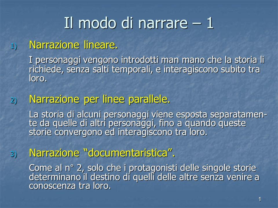 Il modo di narrare – 1 Narrazione lineare.
