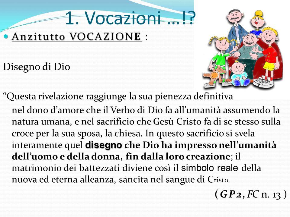 1. Vocazioni …! Anzitutto VOCAZIONE : Disegno di Dio (GP2,FC n. 13 )