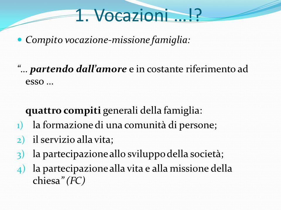 1. Vocazioni …! Compito vocazione-missione famiglia: