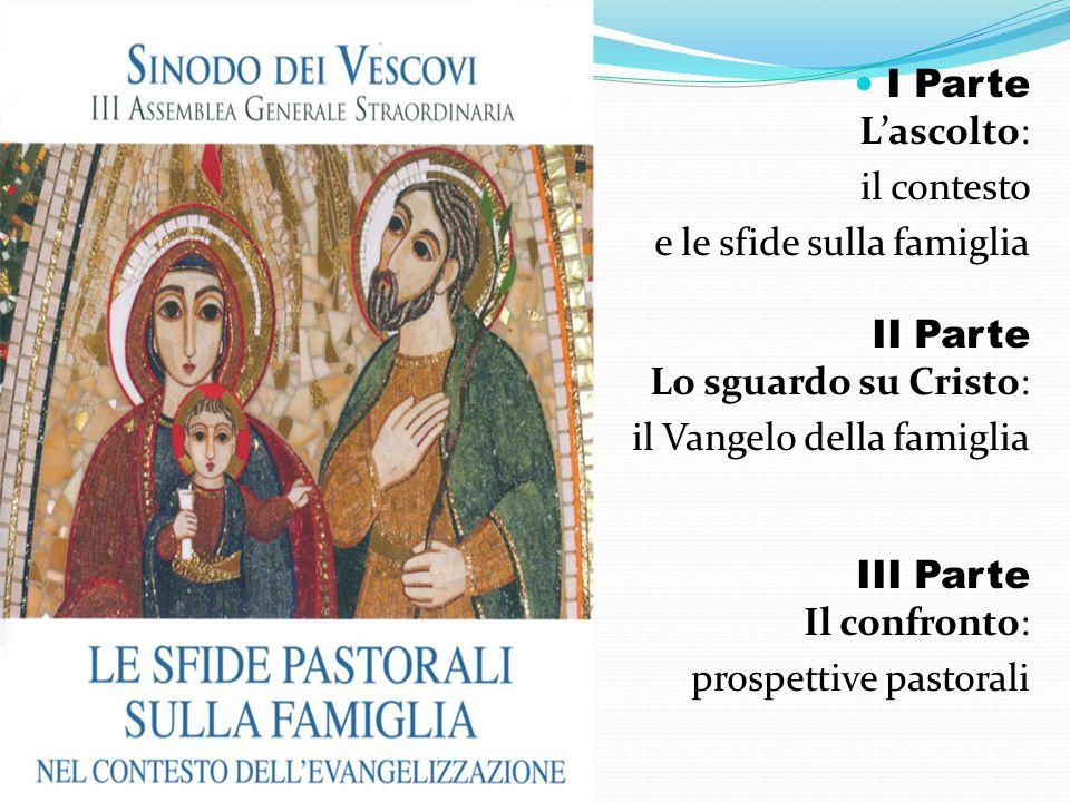 I Parte L'ascolto: il contesto. e le sfide sulla famiglia II Parte Lo sguardo su Cristo: il Vangelo della famiglia III Parte Il confronto: