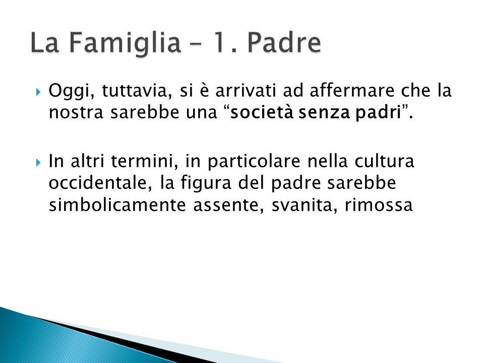 La Famiglia – 1. Padre Oggi, tuttavia, si è arrivati ad affermare che la nostra sarebbe una società senza padri .