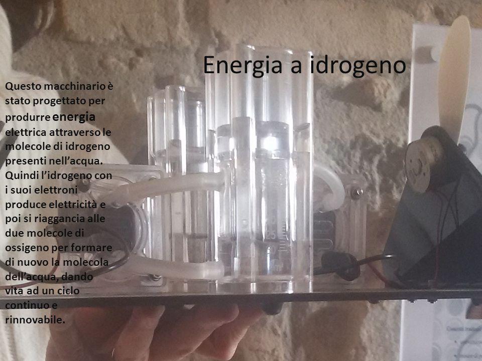 Energia a idrogeno Questo macchinario è stato progettato per produrre energia elettrica attraverso le molecole di idrogeno presenti nell'acqua.
