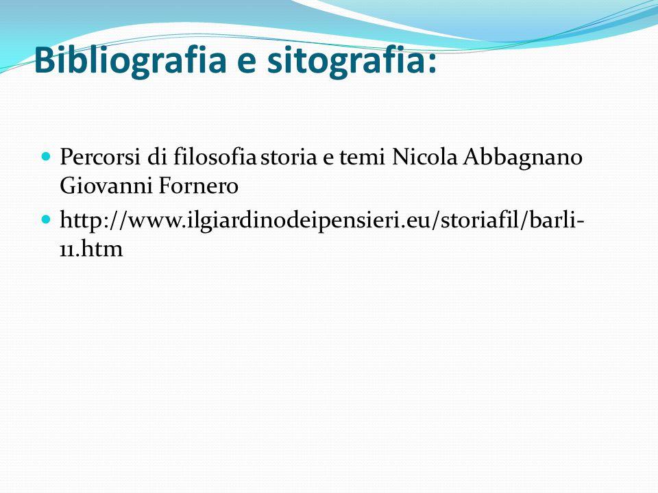 Bibliografia e sitografia: