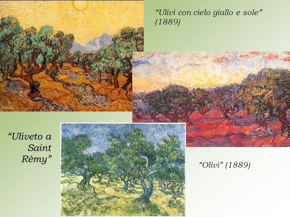 Uliveto a Saint Rèmy Ulivi con cielo giallo e sole (1889)
