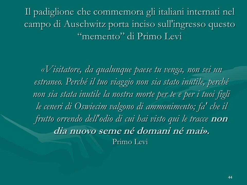 Il padiglione che commemora gli italiani internati nel campo di Auschwitz porta inciso sull ingresso questo memento di Primo Levi