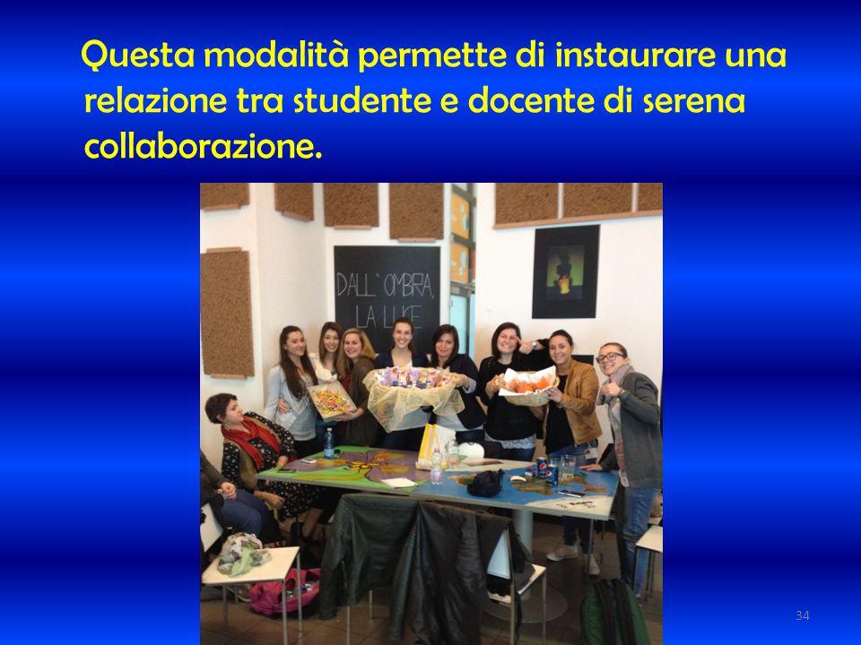 Questa modalità permette di instaurare una relazione tra studente e docente di serena collaborazione.