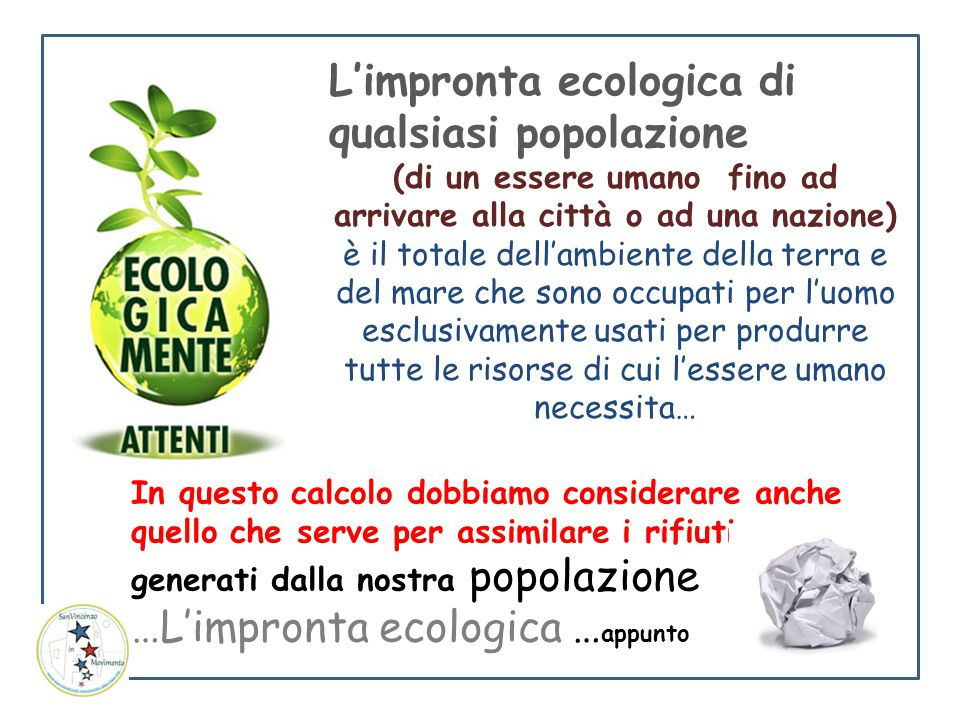 L'impronta ecologica di qualsiasi popolazione