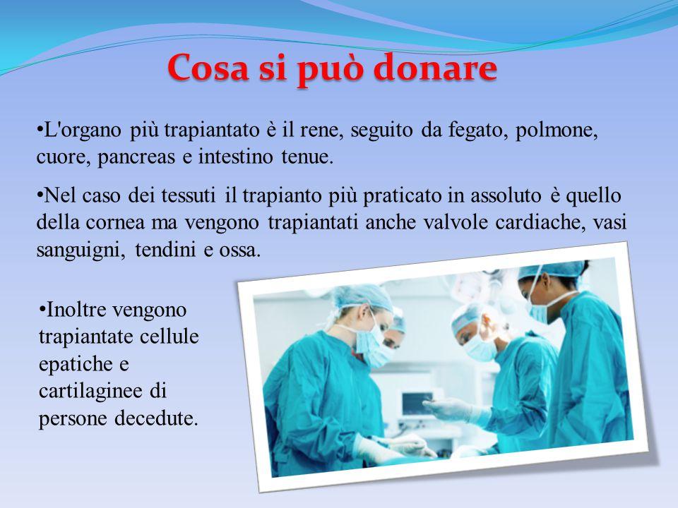 Cosa si può donare L organo più trapiantato è il rene, seguito da fegato, polmone, cuore, pancreas e intestino tenue.