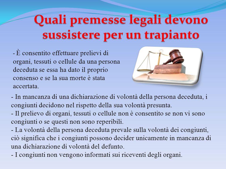 Quali premesse legali devono sussistere per un trapianto