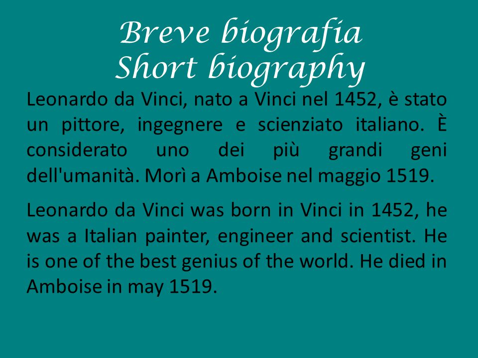 Breve biografia Short biography