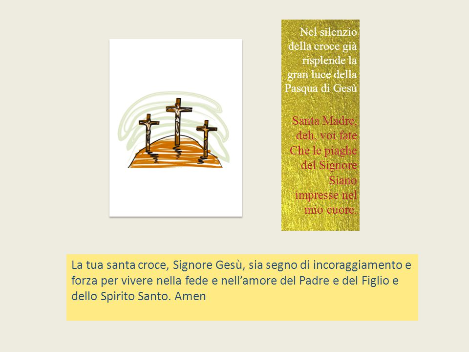Nel silenzio della croce già risplende la gran luce della Pasqua di Gesù
