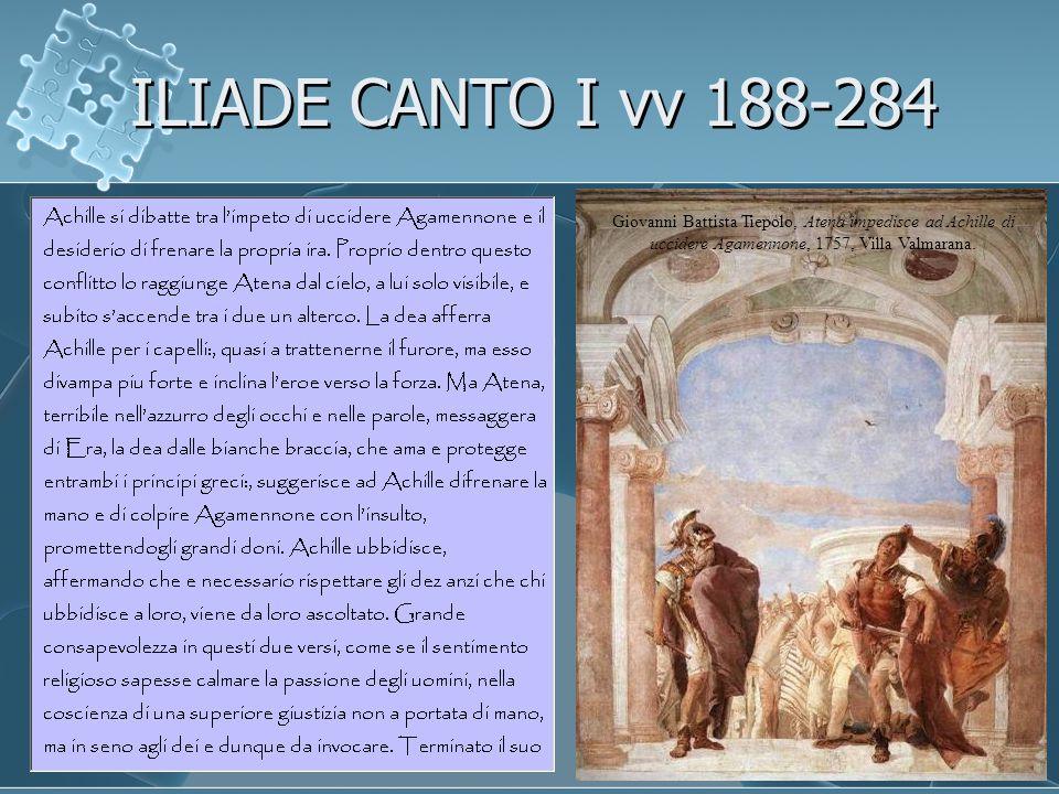 ILIADE CANTO I vv 188-284 Giovanni Battista Tiepolo, Atena impedisce ad Achille di uccidere Agamennone, 1757, Villa Valmarana.