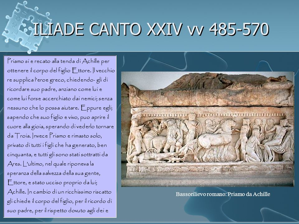 ILIADE CANTO XXIV vv 485-570 Bassorilievo romano: Priamo da Achille
