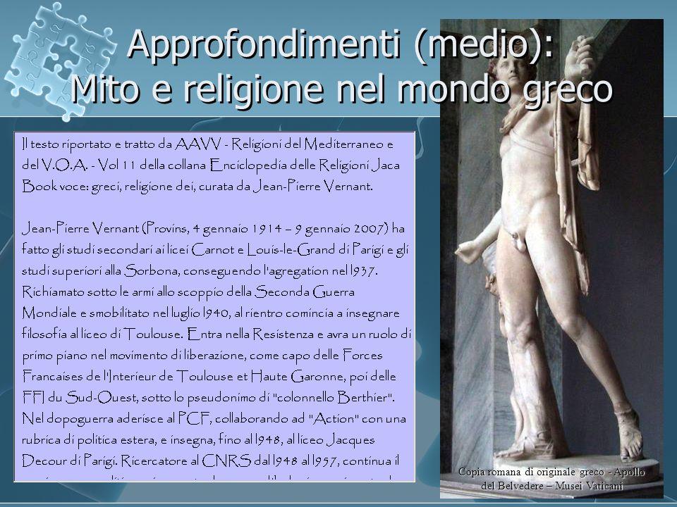 Approfondimenti (medio): Mito e religione nel mondo greco