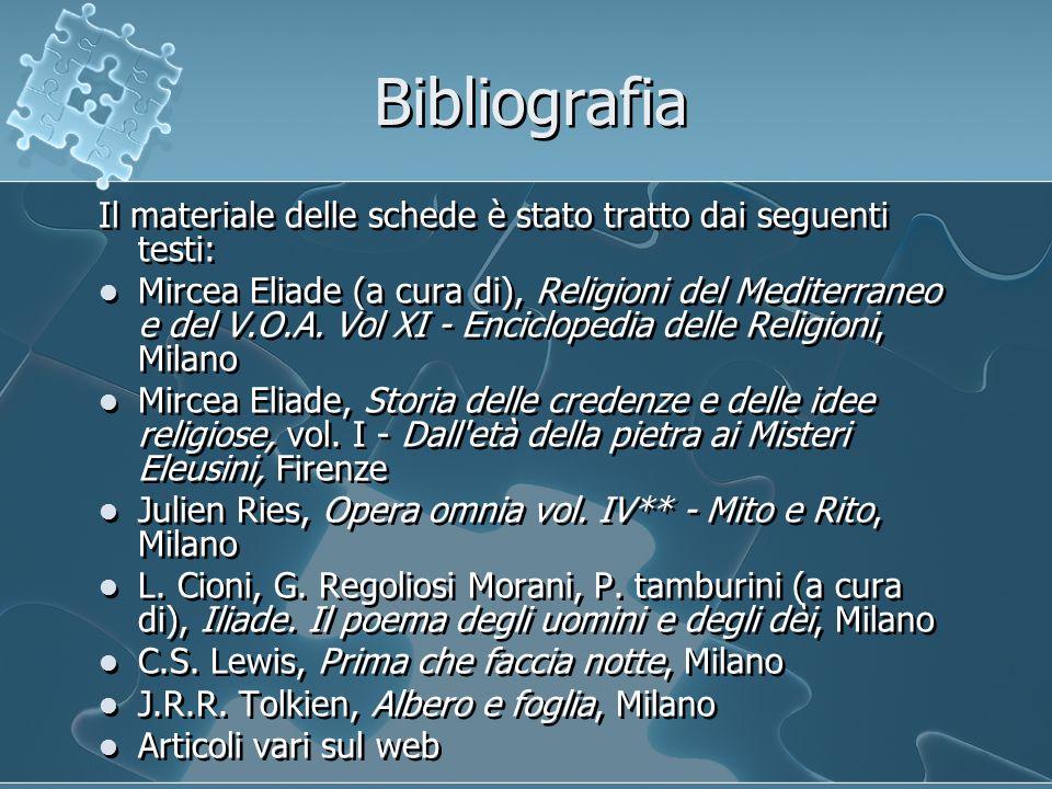 Bibliografia Il materiale delle schede è stato tratto dai seguenti testi: