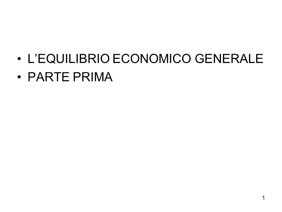 L'EQUILIBRIO ECONOMICO GENERALE