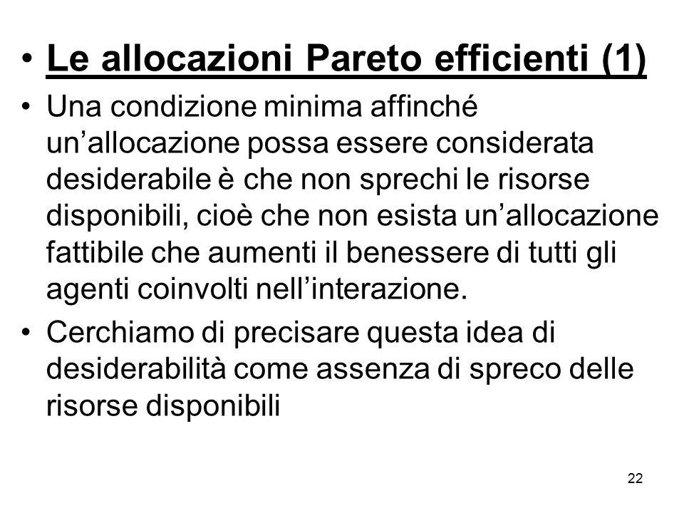 Le allocazioni Pareto efficienti (1)