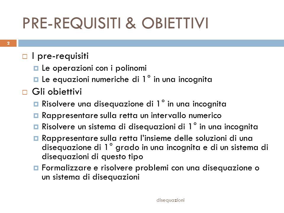 PRE-REQUISITI & OBIETTIVI