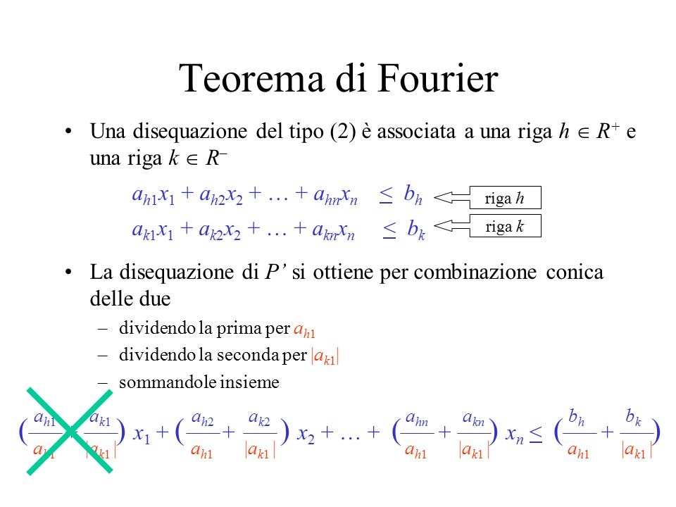 Teorema di Fourier ( + ) x1 + ( + ) x2 + … + ( + ) xn < ( + )