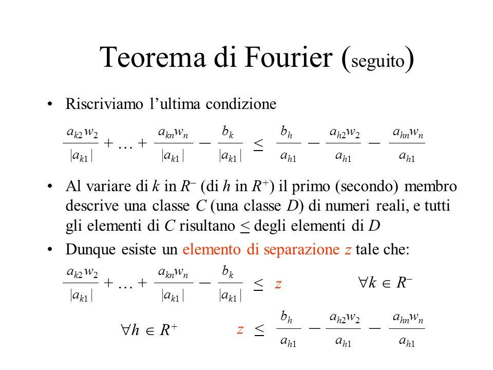 Teorema di Fourier (seguito)
