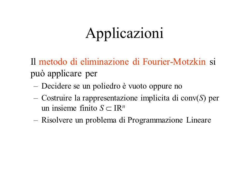 Applicazioni Il metodo di eliminazione di Fourier-Motzkin si può applicare per. Decidere se un poliedro è vuoto oppure no.