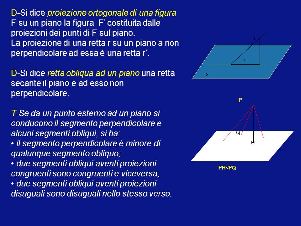 • il segmento perpendicolare è minore di qualunque segmento obliquo;