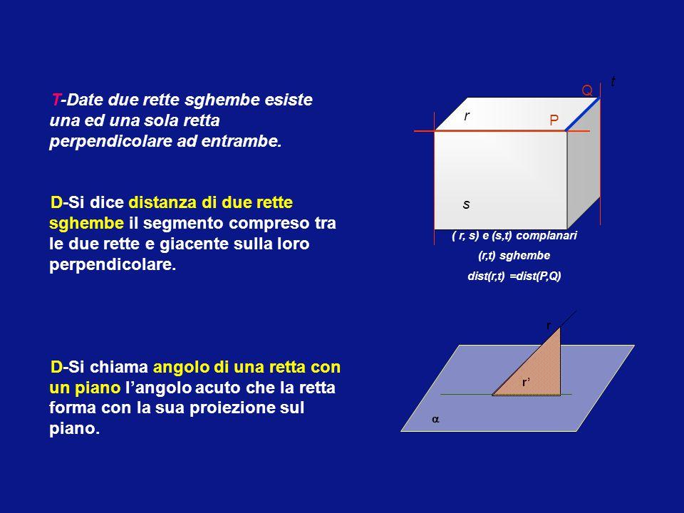 t s. r. ( r, s) e (s,t) complanari. (r,t) sghembe. dist(r,t) =dist(P,Q) P. Q.