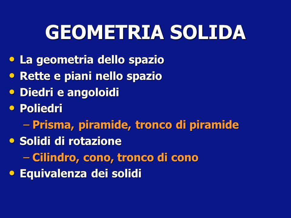 GEOMETRIA SOLIDA La geometria dello spazio Rette e piani nello spazio