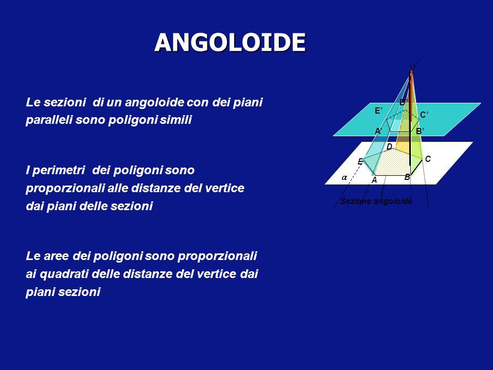 ANGOLOIDE Sezione angoloide. D. E. A. B. C. a. E' D' C' B' A' Le sezioni di un angoloide con dei piani paralleli sono poligoni simili.