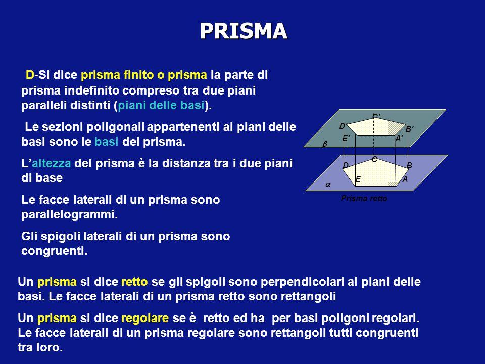 PRISMA D-Si dice prisma finito o prisma la parte di prisma indefinito compreso tra due piani paralleli distinti (piani delle basi).