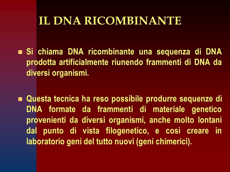 IL DNA RICOMBINANTE Si chiama DNA ricombinante una sequenza di DNA prodotta artificialmente riunendo frammenti di DNA da diversi organismi.