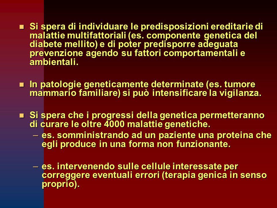 Si spera di individuare le predisposizioni ereditarie di malattie multifattoriali (es. componente genetica del diabete mellito) e di poter predisporre adeguata prevenzione agendo su fattori comportamentali e ambientali.