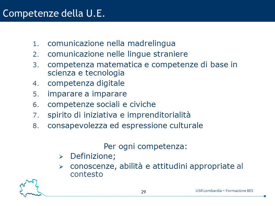 Competenze della U.E. comunicazione nella madrelingua
